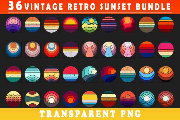 Vintage retro Sunset circle illustration clip art Bundle