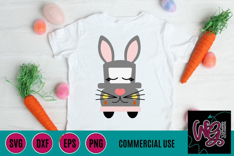 Bunny Whimsy Truck SVG, DXF, PNG, EPS Comm example image 1