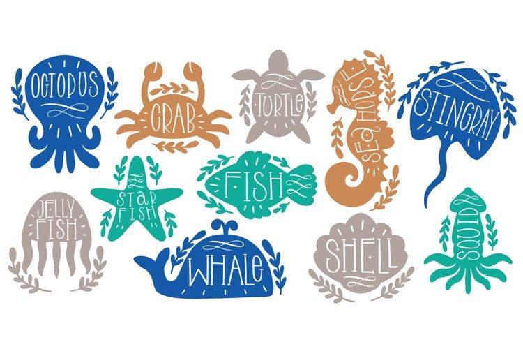 Marine set animal ocean