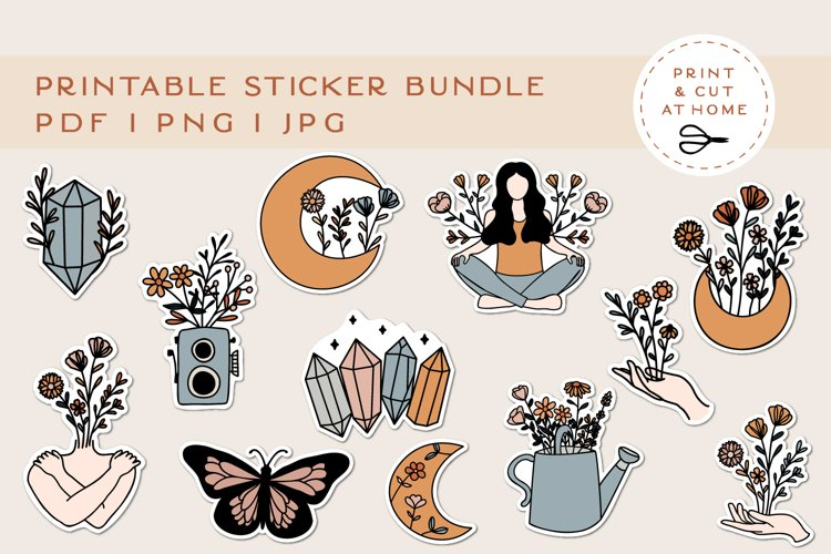 Stickers Bundle PNG | Printable Flower Stickers for Cricut example image 1