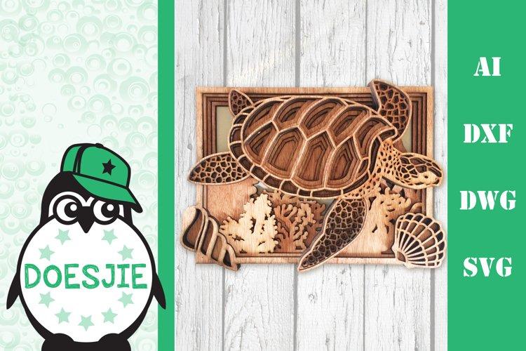 Multi layer mandala sea turtle ocean 3d svg layered