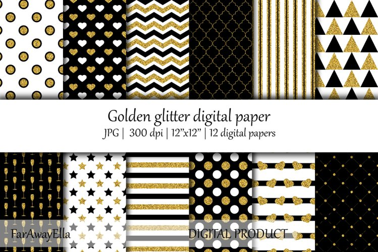 Golden glitter JPG digital paper | 12 seamless backgrounds