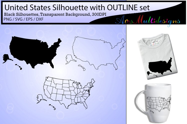 united states map outline / united states map silhouette  example image 1
