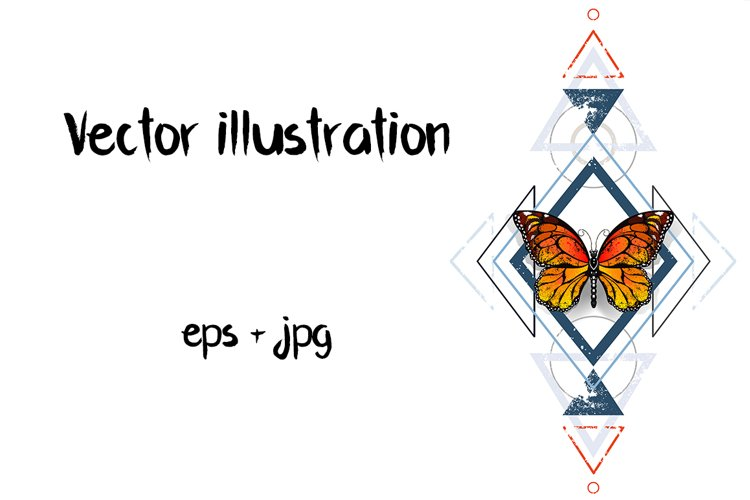 Geometric Pattern with Monarch Butterflies example image 1