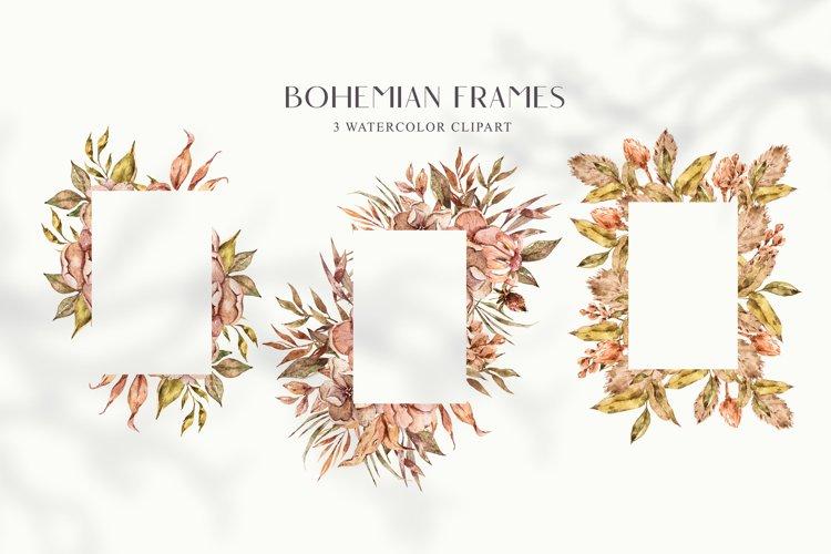 Autumn frame clipart. Bohemian wedding illustrations