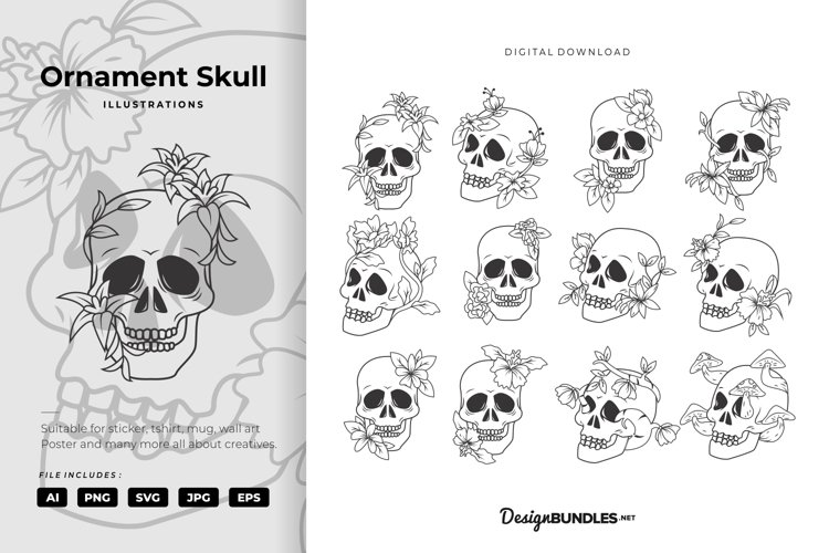 Ornament Skull Illustrations example image 1