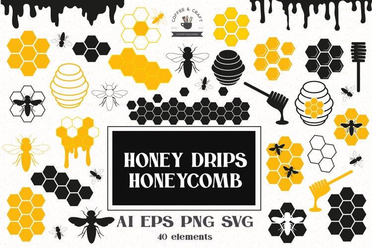 Honey drips, honeycomb SVG clipart