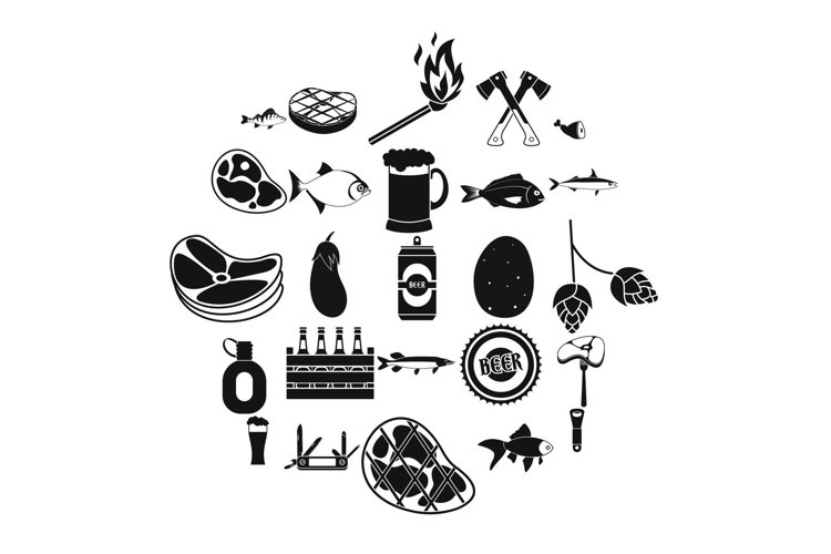 Camping icons set, simple style example image 1
