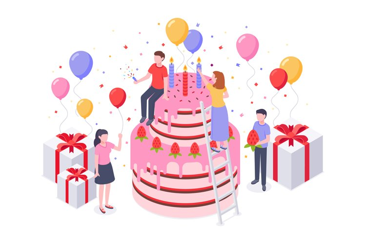 Isometric birthday cake. Party confetti, cakes present and b example image 1