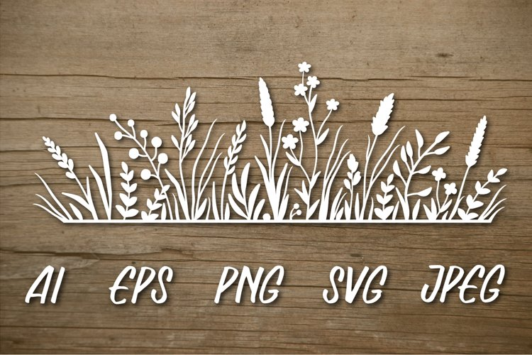 Floral pattern with wild herbs and flowers. SVG cut file.