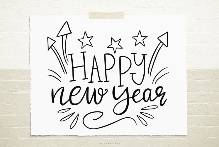 Handlettered Happy new year quote svg cut file example image 1