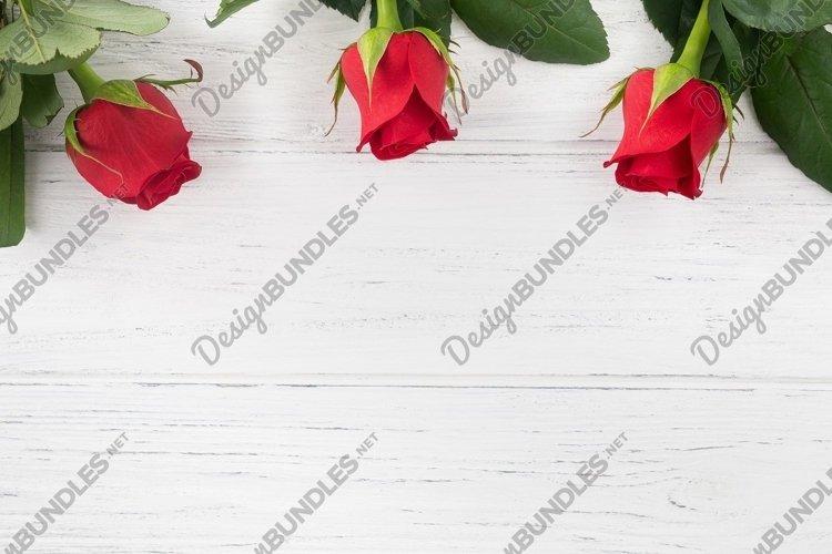 Valentines background, rose border flat lay example image 1