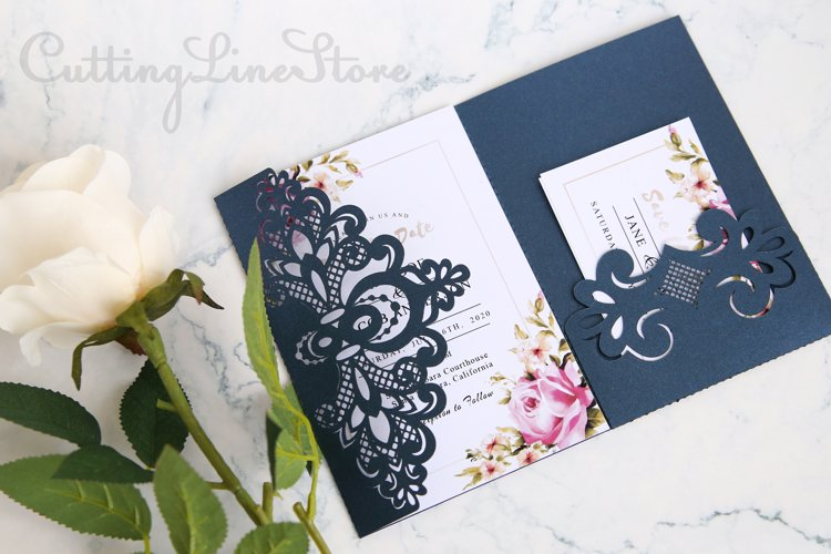 Lace wedding invitation template, Svg files for cricut example image 1