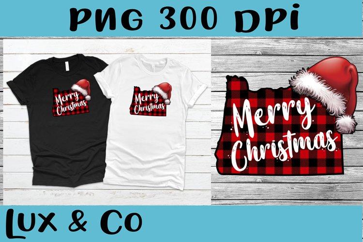 Oregon State Buffalo Plaid Merry Christmas Santa Hat PNG