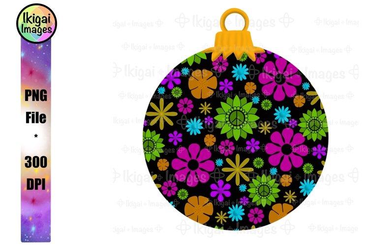 Hippie Christmas Sublimation Design, Flower Power Ornament example image 1