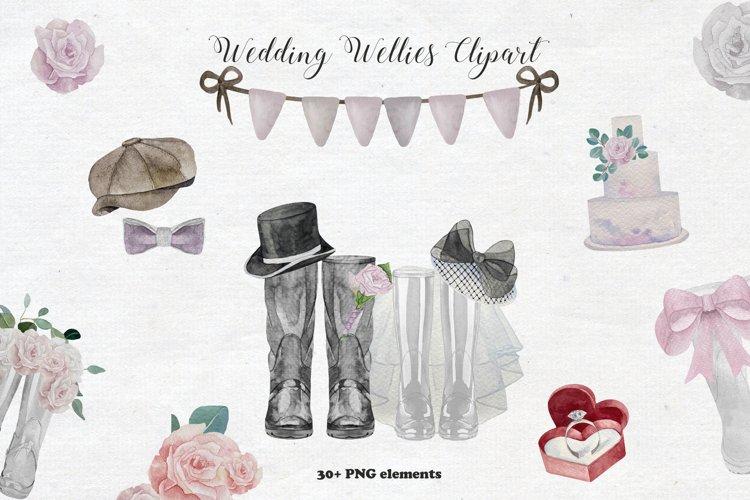 Watercolor Wedding Wellies Clipart
