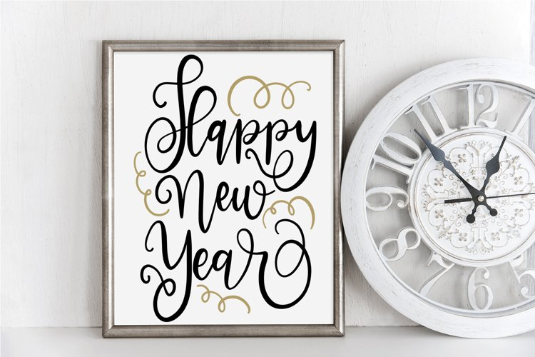 New Year SVG - Happy New Year Hand-Lettered Cut File
