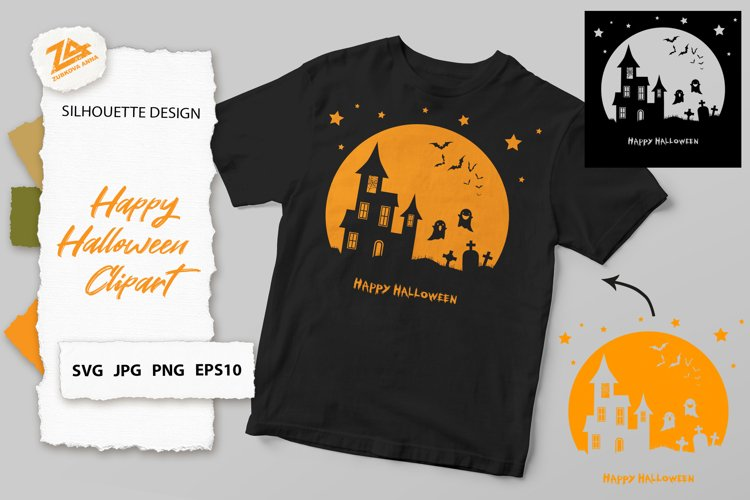 Halloween Clipart, Silhouette SVG JPG PNG EPS10 example image 1