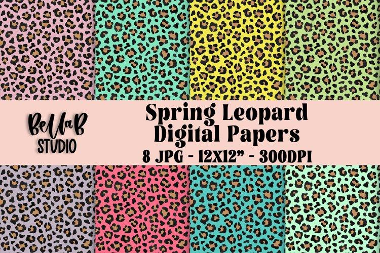 Spring Leopard Digital Papers, Digital Paper Pack