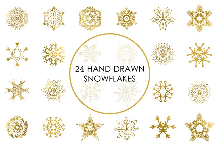 Cute golden snowflakes icons clip art vector set