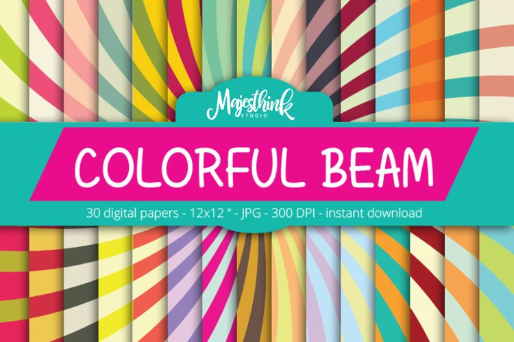 Rainbow Digital Paper - COLORFUL BEAM - with Light Sunburst Ray shape and stripes many color printables