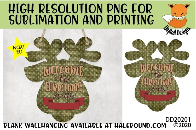 Customizable Welcome Reindeer Head PNG for Sublimation