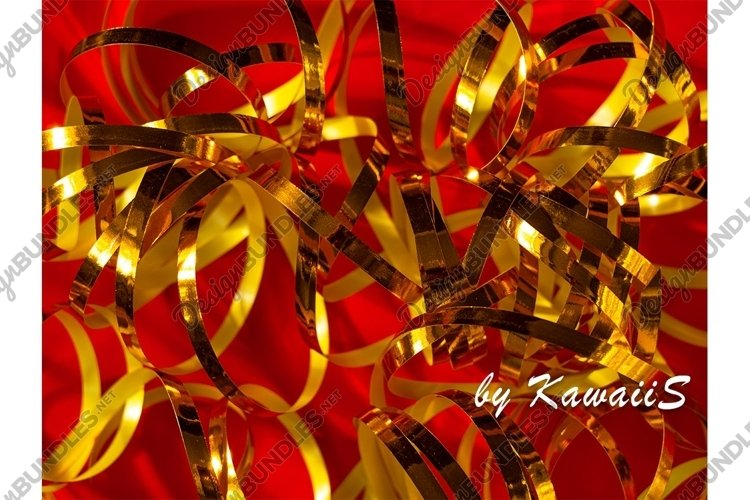 Festive red background Golden shiny ribbons birthday texture example image 1