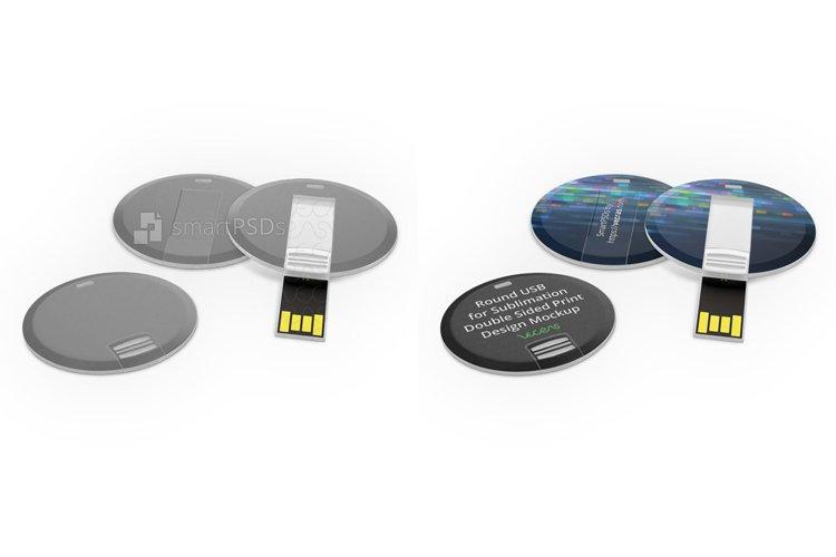 Circular Shape USB Flash Drive Print Design Mockup example image 1