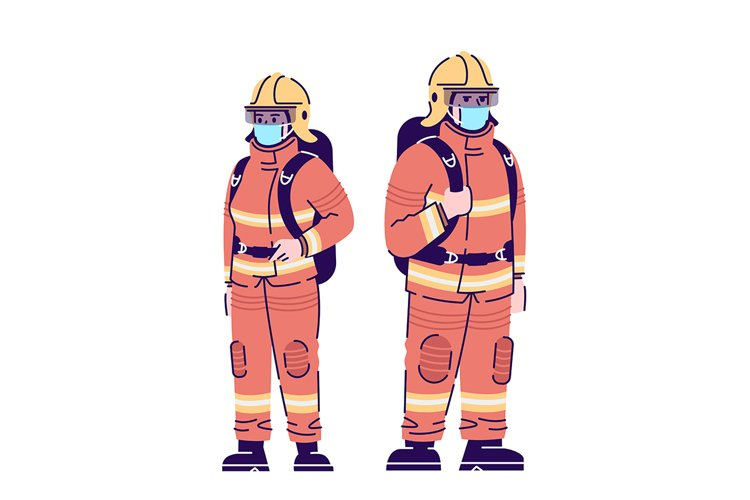 Firefighters in Covid19 Pandemic Flat Isolated Vector Illustration example