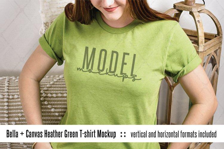 3001 Bella Canvas heather green shirt mock up model example image 1