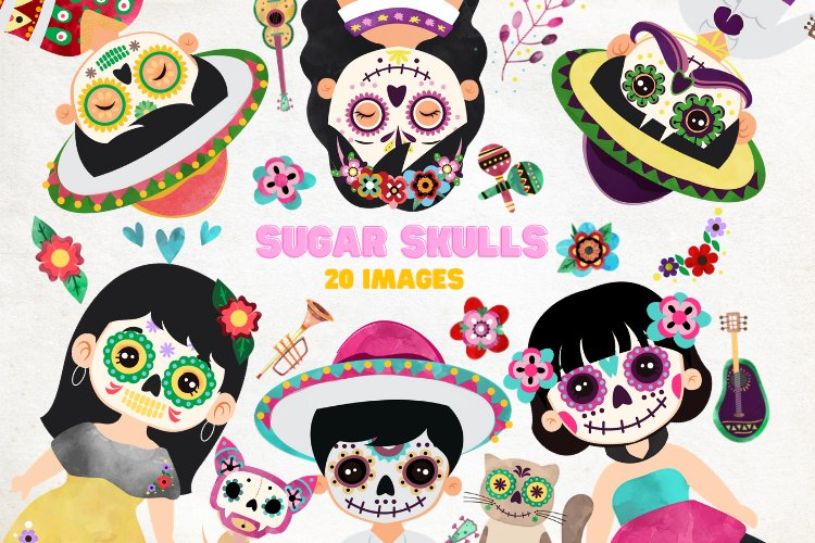 Day of the Dead clipart - Sugar Skull - Dia de los muertos example image 1