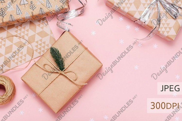 Stock photo of gift boxes in the craft paper