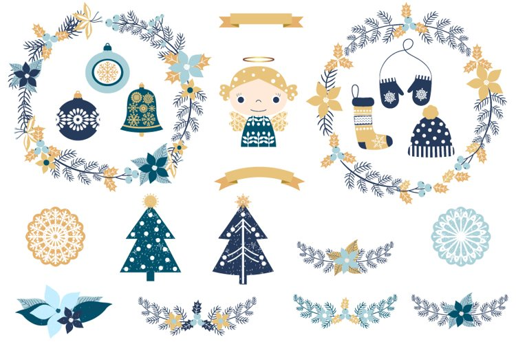 Blue and gold Rustic Christmas clipart set with wreaths, ornaments, clothes