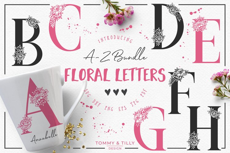 A-Z Floral Letters Bundle - SVG DXF PNG EPS JPG PDF Cut File example image 1