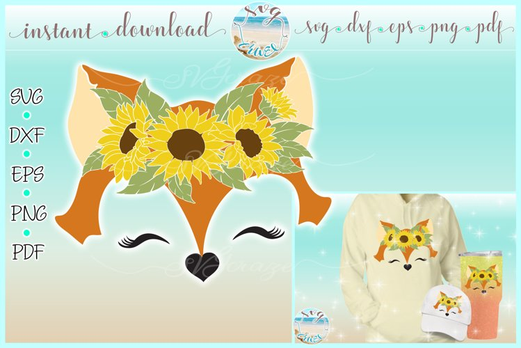 Fox Face with Sunflowers SVG Dxf Eps Png PDF Files example image 1