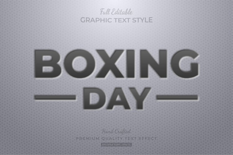 Boxing Day Embossed Editable Text Style Effect Premium example image 1