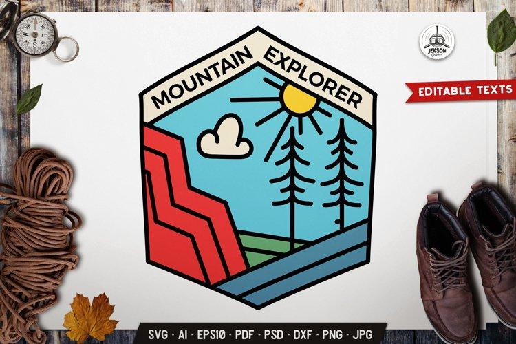 Mountain Explorer SVG Line Art Logo Adventure Emblem DXF PNG example image 1