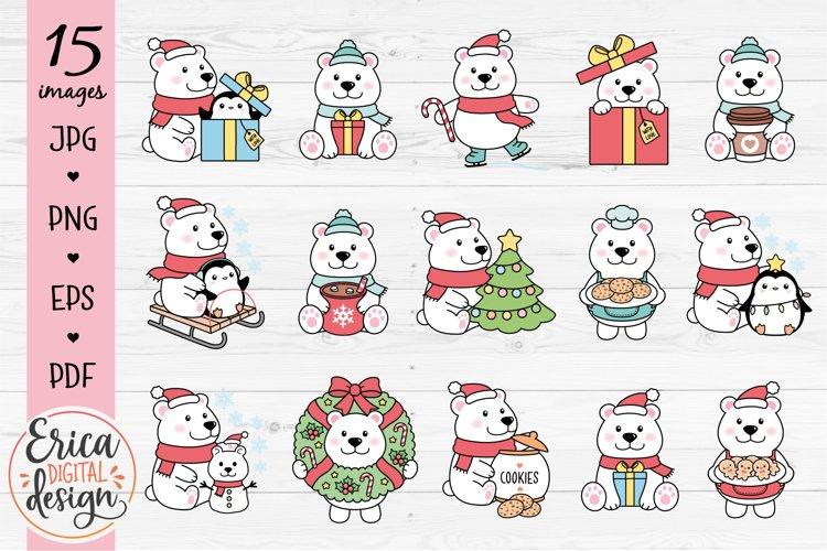 Christmas Polar Bear Clipart Bundle Funny Cute bears
