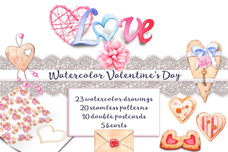 Watercolor Valentines Day