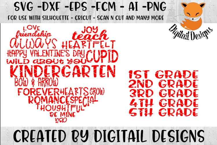 School Valentine Word Art Heart SVG example image 1