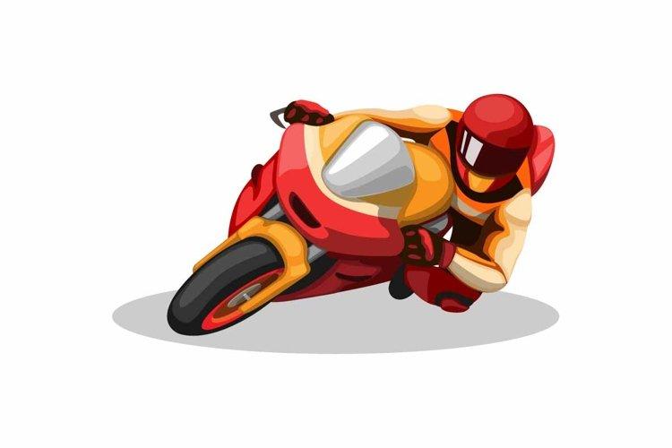 motorsport rider cornering in circuit racing cartoon vector example image 1