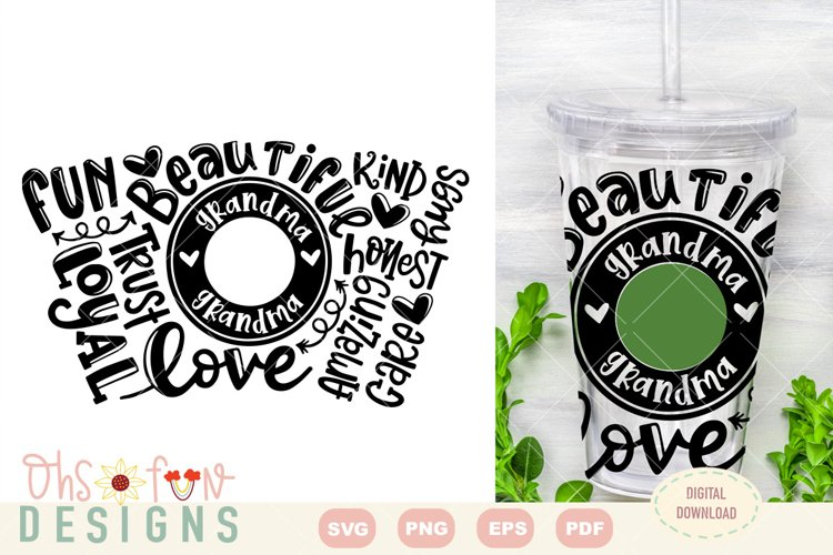 SVG grandma seamless venti cold cup wrap | typography