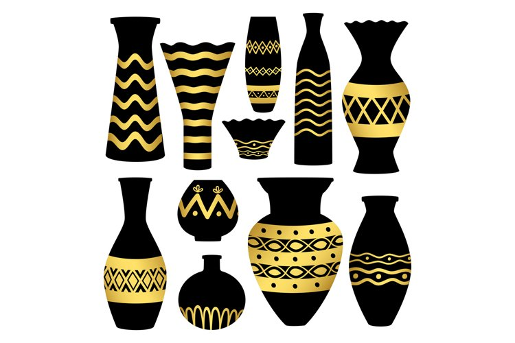 Greek ancient bowls and vases with golden patterns