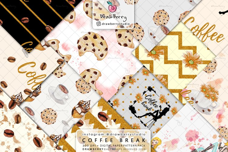 Coffee Beans Digital Patterns DP064 example image 1