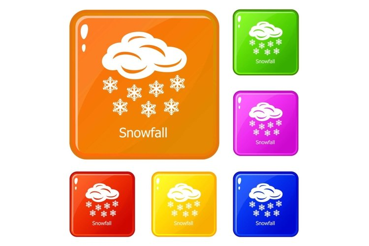 Snowfall icons set vector color example image 1