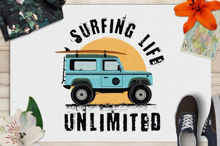 Surfing Life Logo, Surf Retro Emblem, Summer Badge SVG example image 1