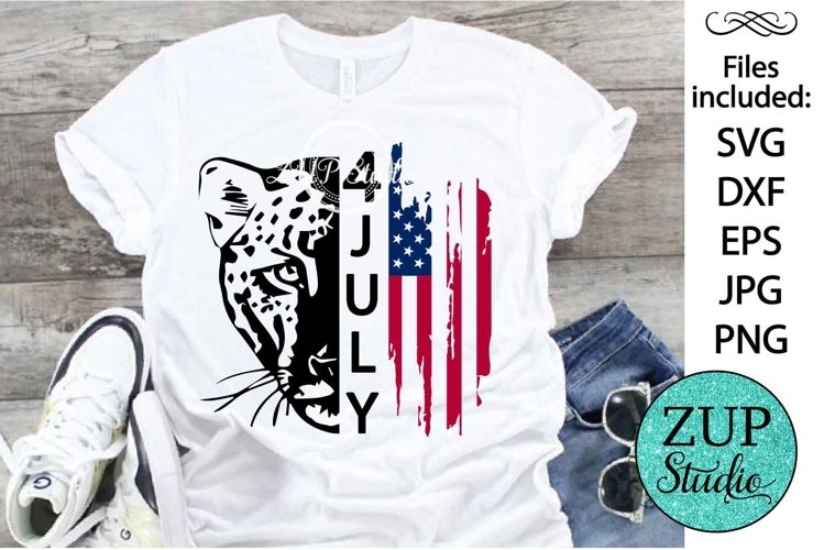 Leopard with USA Flag Design Digital Cutting files 502 example image 1