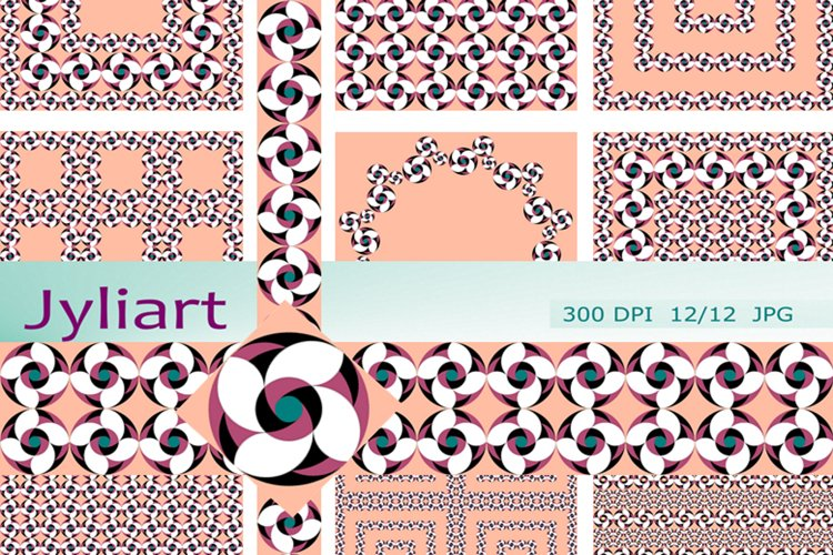 Border Patterns Clipart, Flower of luck, Pink. Floral Papers