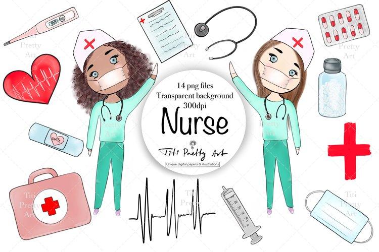 Nurse Care Clip Art, Medical Illustrations, Stay Safe