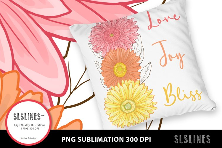 Pink & Yellow Daisy - Love Joy Bliss PNG sublimation example image 1